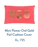 Mini Flower Owl Gold Foil Cushion Cover - Coral